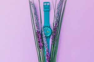 watch and lavender flowers