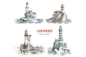 Lighthouse and sea. Marine sketch.