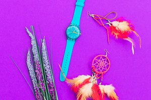 watch, earrings and lavender