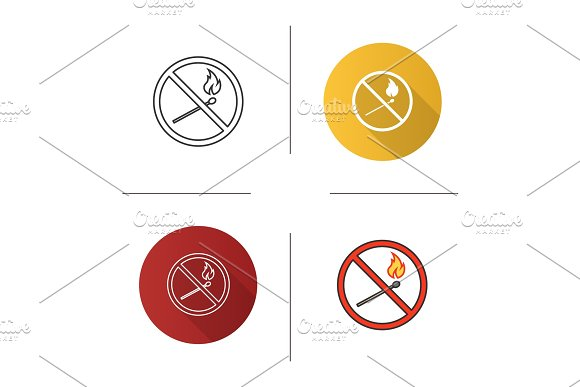 Forbidden Sign With Burning Matchstick Icon