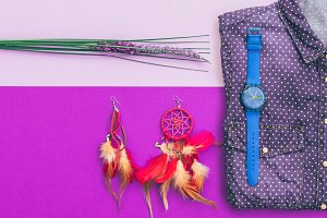 shirt, watch, earrings and lavender