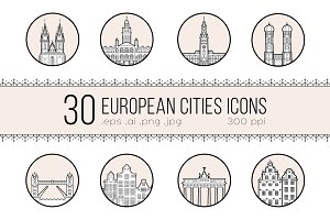 Icons of 30 European cities