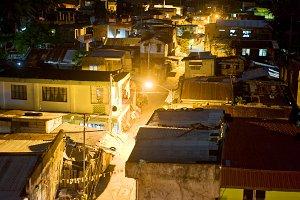 Legaspi city slums, nighttime view