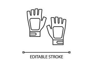 Fingerless gym gloves linear icon