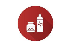 BCAA supplement flat design long shadow glyph icon