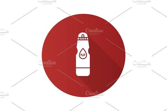 Sports Water Bottle Flat Design Long Shadow Glyph Icon