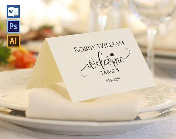 Place Card Template WPC422