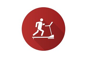 Treadmill flat design long shadow glyph icon