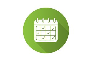 Calendar flat design long shadow glyph icon