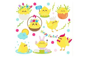 Cute Easter chickens set png eps jpg