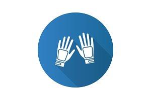 Gloves flat design long shadow glyph icon
