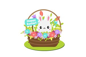 Easter rabbit in flower basket