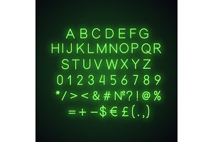 Green alphabet neon light icon