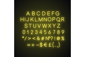 Yellow alphabet neon light icon