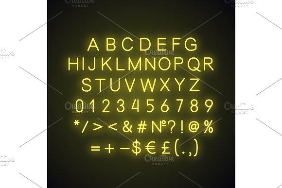 Yellow alphabet neon light icon