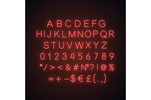 Red alphabet neon light icon