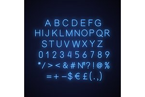 Blue alphabet neon light icon
