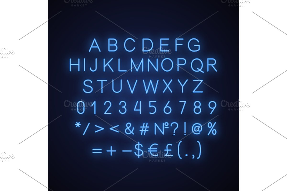 Blue alphabet neon light icon