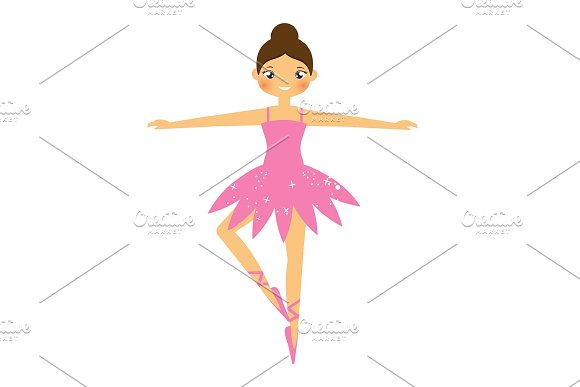 Cute Ballerina Girl Dancing In Tutu