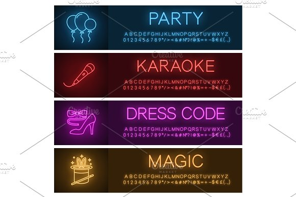 Party Neon Light Banner Templates Set