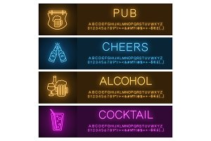 Alcohol neon light banner templates set