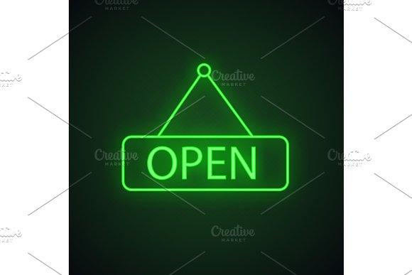Open Hanging Door Neon Light Icon