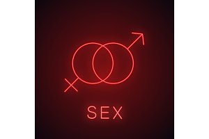 Sex neon light icon