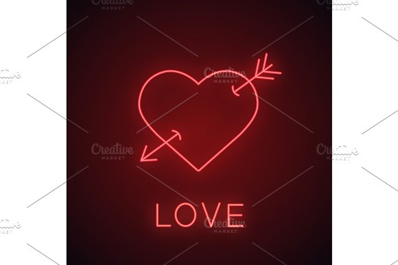 Heart With Cupid's Arrow Neon Light Icon