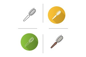 Pet hair brush icon