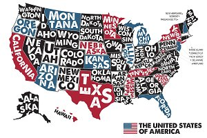 Poster map of USA