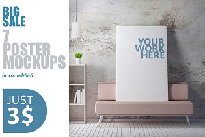 Canvas Poster frame PSD Mockup
