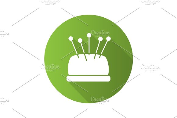 Pincushion With Pins Flat Design Long Shadow Glyph Icon