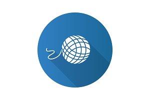 Knitting yarn clew flat design long shadow glyph icon