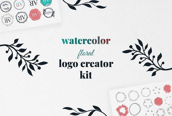 Watercolor Floral Logo Creator Kit
