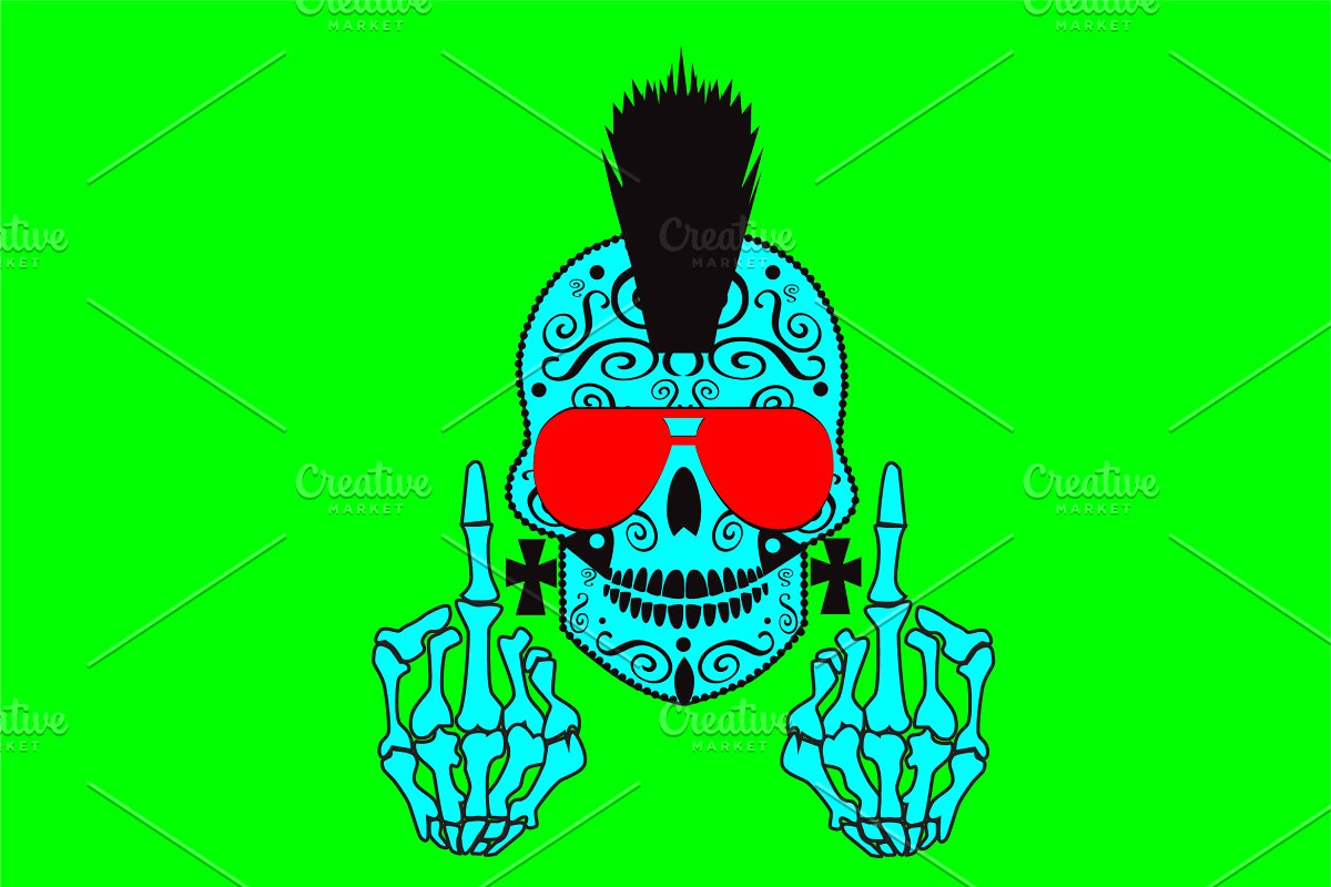 b3d747b3c06d Punk skull with middle finger ~ Graphics ~ Creative Market