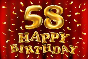happy birthday 58 th balloons gold