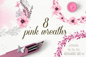 8 Great pink floral wreath