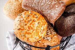 Variety homemade grain bread