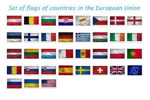 Set of waving flags EU