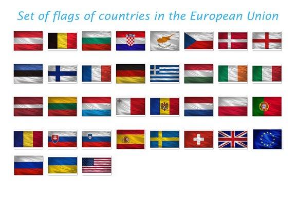Set Of Waving Flags EU