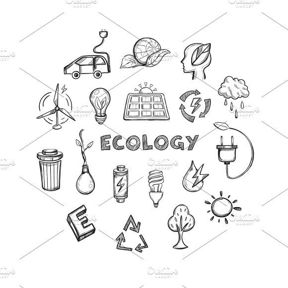 Ecology Hand Drawn Icons Set