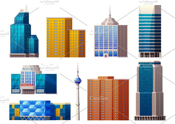 Colorful Modern Buildings Set