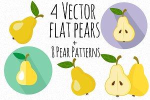 4 Flat vector pear + 8 pear pattern
