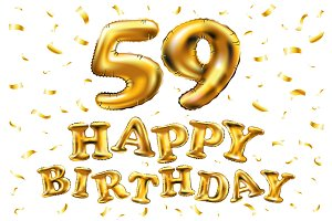 happy birthday 59 th balloons gold