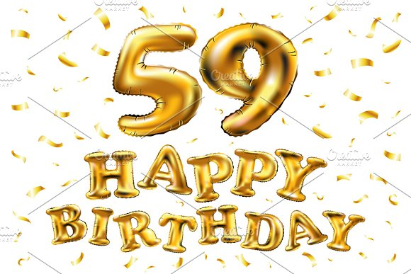 Happy Birthday 59 Th Balloons Gold