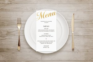 Gold wedding menu. Foil effect