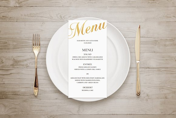Gold Wedding Menu Foil Effect