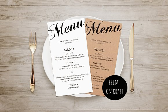 Rustic wedding menu. Black and white