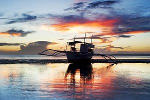 Boat at sunset, Philippines