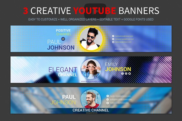 3 Creative Youtube Banners